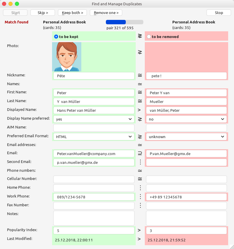 Duplicate Contacts Manager for Thunderbird by David von Oheimb